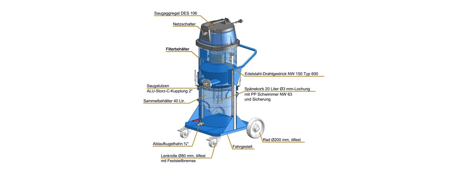 Elektrosauger DES 118–106-ChiLi-kompakt